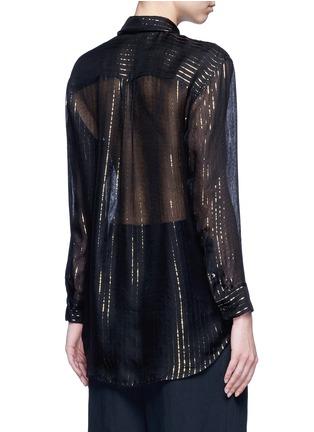 Back View - Click To Enlarge - Equipment - x Kate Moss 'Daddy' metallic stripe sheer silk shirt