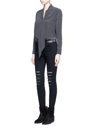 Figure View - Click To Enlarge - Equipment - x Kate Moss 'Collarless Slim Signature' star print silk shirt