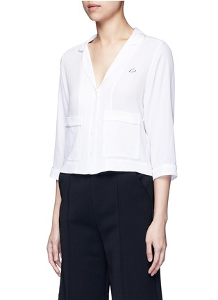 Front View - Click To Enlarge - Equipment - x Kate Moss 'Lake' KM initial silk pyjama top