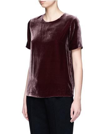Front View - Click To Enlarge - VINCE - Slit back velvet T-shirt