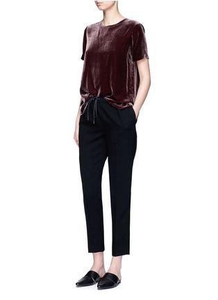 Figure View - Click To Enlarge - VINCE - Slit back velvet T-shirt
