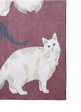 Detail View - Click To Enlarge - Karen Mabon - 'Love Cats' silk georgette scarf