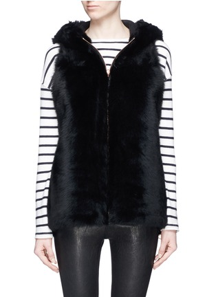 Detail View - Click To Enlarge - KARL DONOGHUE - Reversible cashmere lambskin shearling hooded gilet
