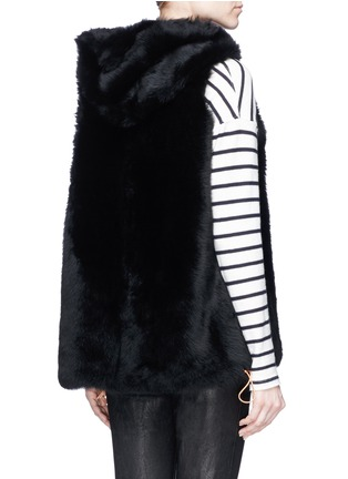 Back View - Click To Enlarge - KARL DONOGHUE - Reversible cashmere lambskin shearling hooded gilet
