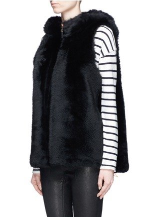 Front View - Click To Enlarge - KARL DONOGHUE - Reversible cashmere lambskin shearling hooded gilet