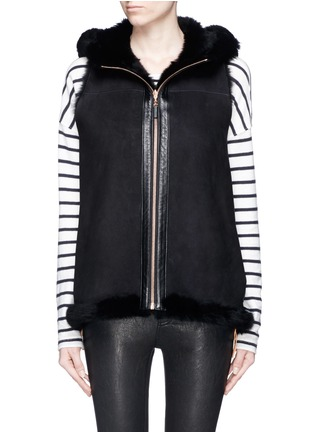 Main View - Click To Enlarge - KARL DONOGHUE - Reversible cashmere lambskin shearling hooded gilet