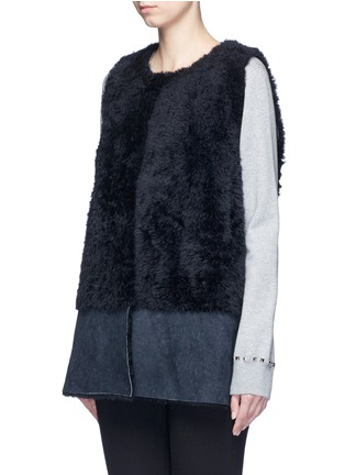 Front View - Click To Enlarge - KARL DONOGHUE - Reversible mesh embossed Alpine lambskin shearling gilet