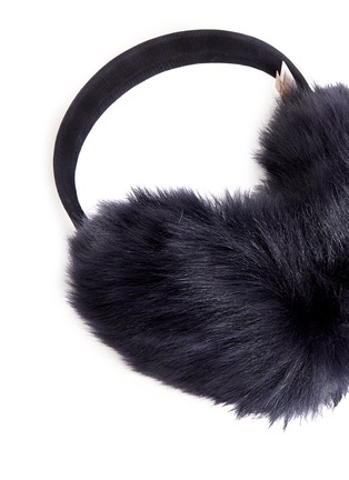 Detail View - Click To Enlarge - KARL DONOGHUE - Mesh embossed Toscana lambskin shearling ear muffs