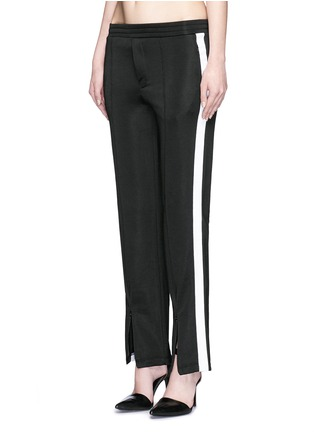 Front View - Click To Enlarge - T By Alexander Wang - Outseam stripe sleek French terry sweatpants