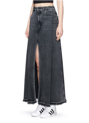 Front View - Click To Enlarge - T By Alexander Wang - Deconstructed denim maxi skirt