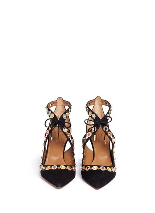 Front View - Click To Enlarge - Aquazzura - 'Byzantine' stud suede lace-up pumps