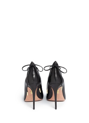 Back View - Click To Enlarge - AQUAZZURA - 'Christy' lace up nappa leather pumps