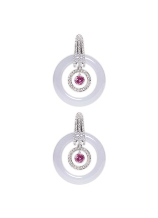 Detail View - Click To Enlarge - Samuel Kung - Convertible jade diamond pink sapphire earring pendant