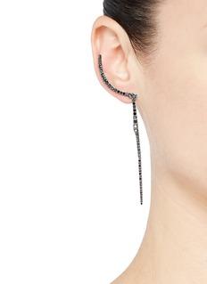Cristinaortiz Diamond rhodium 9k white gold crescent drop earrings