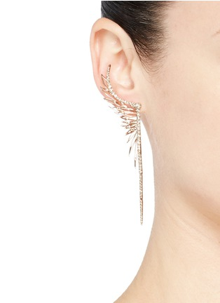 Figure View - Click To Enlarge - Cristinaortiz - Diamond 9k gold mismatched feather earrings