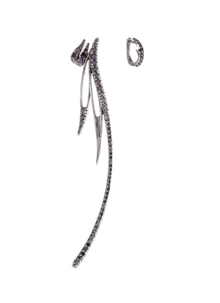 Main View - Click To Enlarge - Cristinaortiz - Diamond rhodium 9k white gold mismatched earrings