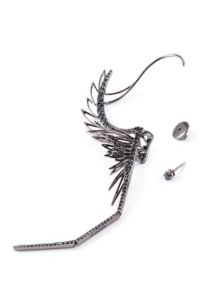 Detail View - Click To Enlarge - Cristinaortiz - Diamond rhodium 9k white gold mismatched wing creeper earrings