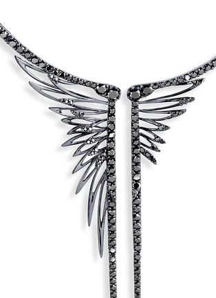 Figure View - Click To Enlarge - Cristinaortiz - Black diamond 9k gold wing necklace