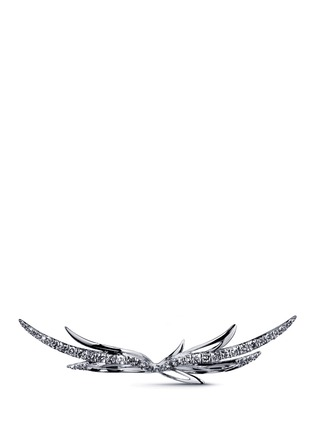 Main View - Click To Enlarge - Cristinaortiz - Black diamond 9k gold wing two finger ring