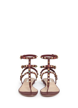 Front View - Click To Enlarge - Valentino - 'Rockstud Rolling' cabochon caged leather sandals