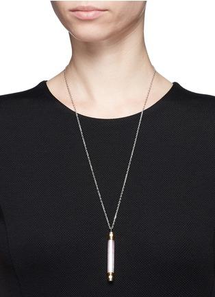 Figure View - Click To Enlarge - W.Britt - 'Vertical Bar' 18k gold plated rose quartz pendant necklace