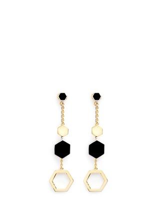 Main View - Click To Enlarge - W.Britt - 'Hexagon Dangling' 18k gold plated earrings
