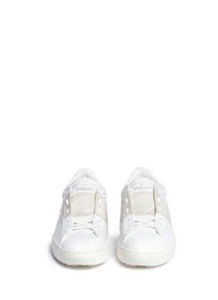 Front View - Click To Enlarge - Valentino - Colourblock leather combo stud sneakers