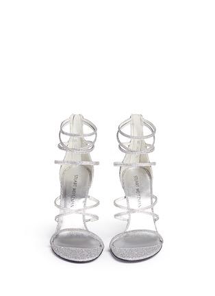Front View - Click To Enlarge - Stuart Weitzman - 'Galaxy' Swarovski crystal strap lamé sandals