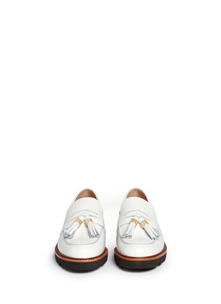 Front View - Click To Enlarge - STUART WEITZMAN - 'Manila' tassel tie spazzolato leather loafers