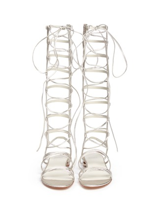 Front View - Click To Enlarge - Stuart Weitzman - 'Sparta' knee high leather gladiator sandals