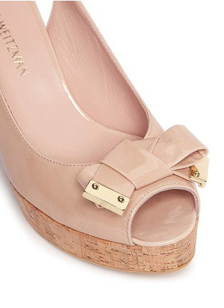 Detail View - Click To Enlarge - Stuart Weitzman - 'Boda Jean' bow patent leather platform wedges