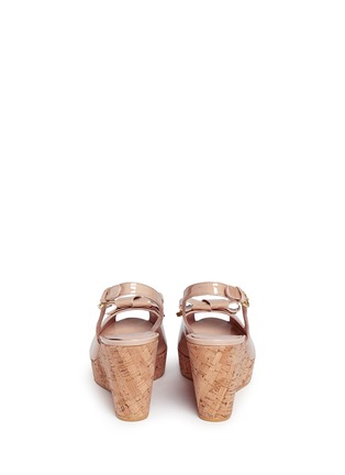 Back View - Click To Enlarge - Stuart Weitzman - 'Boda Jean' bow patent leather platform wedges