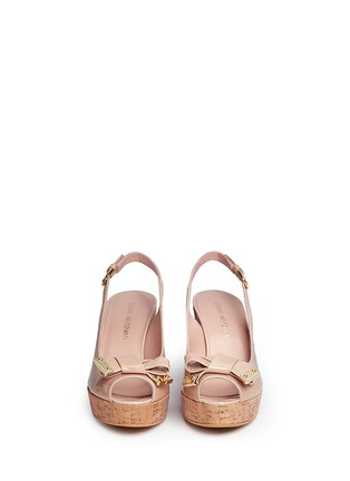 Front View - Click To Enlarge - Stuart Weitzman - 'Boda Jean' bow patent leather platform wedges