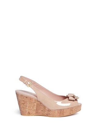 Main View - Click To Enlarge - Stuart Weitzman - 'Boda Jean' bow patent leather platform wedges