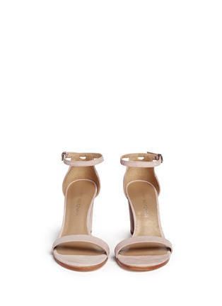 Front View - Click To Enlarge - Stuart Weitzman - 'Simple' ankle strap nubuck leather sandals