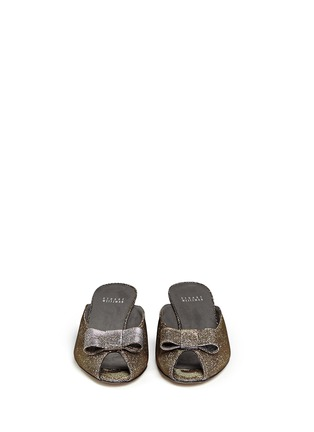 Front View - Click To Enlarge - Stuart Weitzman - 'Candy' peep toe metallic lamé sandals