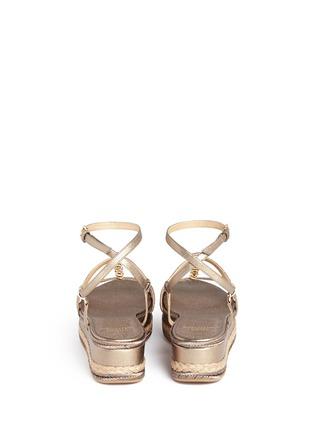 Back View - Click To Enlarge - STUART WEITZMAN - 'Ornamental' metallic jute trim leather platform sandals