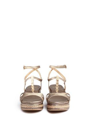 Front View - Click To Enlarge - STUART WEITZMAN - 'Ornamental' metallic jute trim leather platform sandals