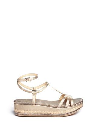 Main View - Click To Enlarge - STUART WEITZMAN - 'Ornamental' metallic jute trim leather platform sandals
