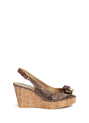 Main View - Click To Enlarge - Stuart Weitzman - 'Boda Jean' glitter leopard print cork wedge sandals