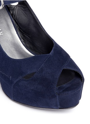 Detail View - Click To Enlarge - Stuart Weitzman - 'Turnover' suede wedge platform sandals