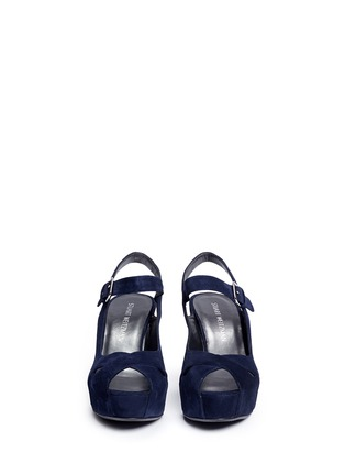 Front View - Click To Enlarge - Stuart Weitzman - 'Turnover' suede wedge platform sandals