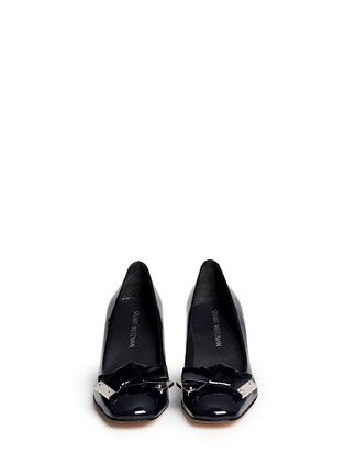 Front View - Click To Enlarge - Stuart Weitzman - 'Bold Fore' bow patent leather pumps