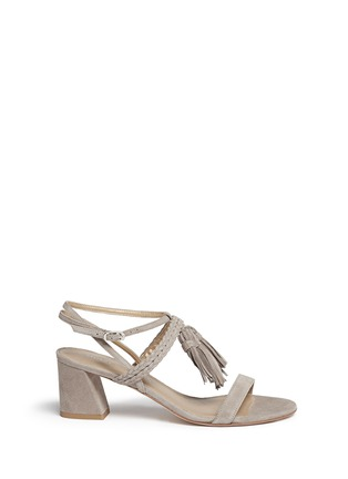 Main View - Click To Enlarge - Stuart Weitzman - 'Tasselmania' suede chunky heel sandals