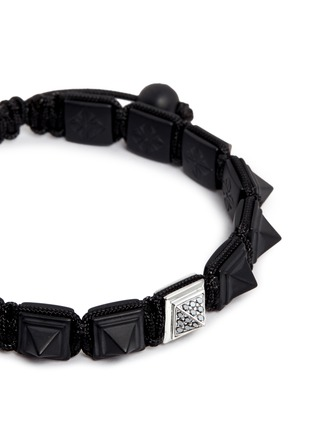 Figure View - Click To Enlarge - Shamballa Jewels - 'Pyramid' black diamond 18k gold bracelet