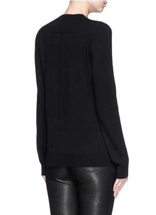 Back View - Click To Enlarge - GIVENCHY - 'Love' embroidery patch cashmere sweater