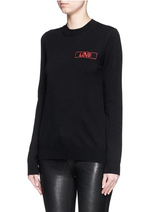 Front View - Click To Enlarge - GIVENCHY - 'Love' embroidery patch cashmere sweater