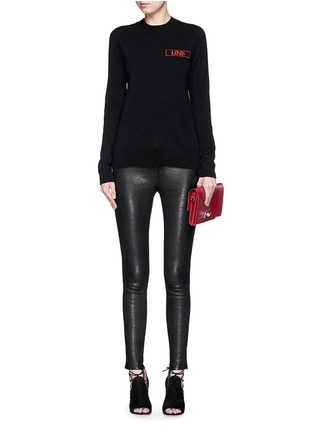 Figure View - Click To Enlarge - GIVENCHY - 'Love' embroidery patch cashmere sweater