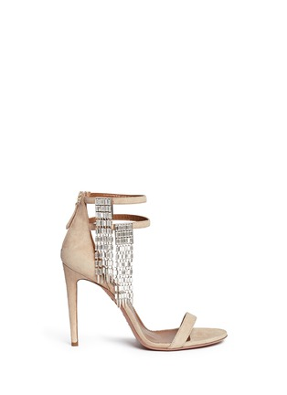 Main View - Click To Enlarge - Aquazzura - 'My Desire' jewelled fringe suede sandals