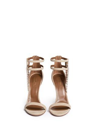 Figure View - Click To Enlarge - Aquazzura - 'My Desire' jewelled fringe suede sandals